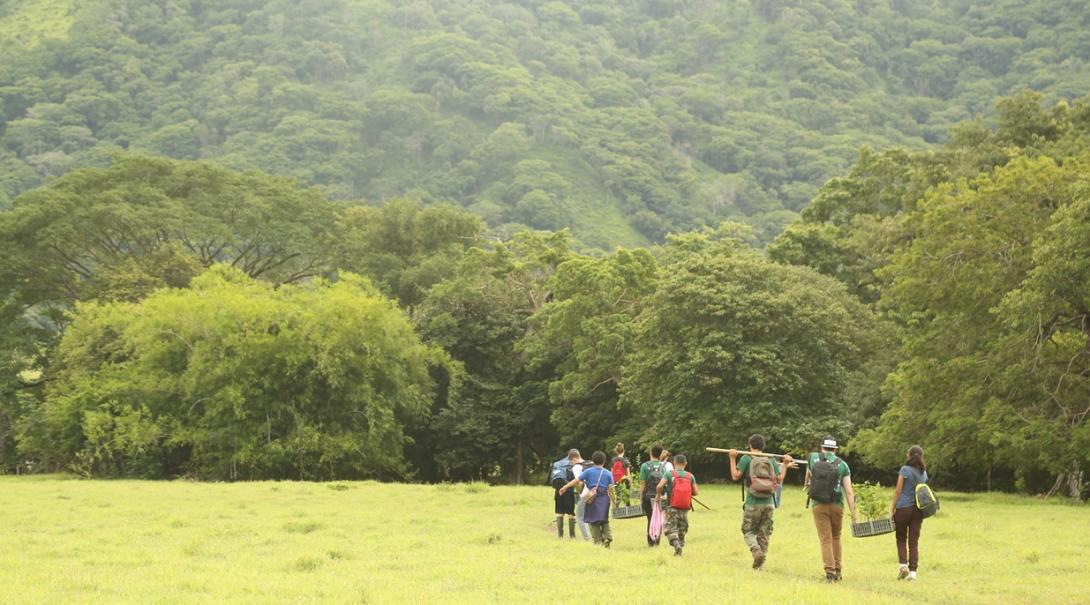 コスタリカのバラオンダ国立公園を行く環境保護ボランティア